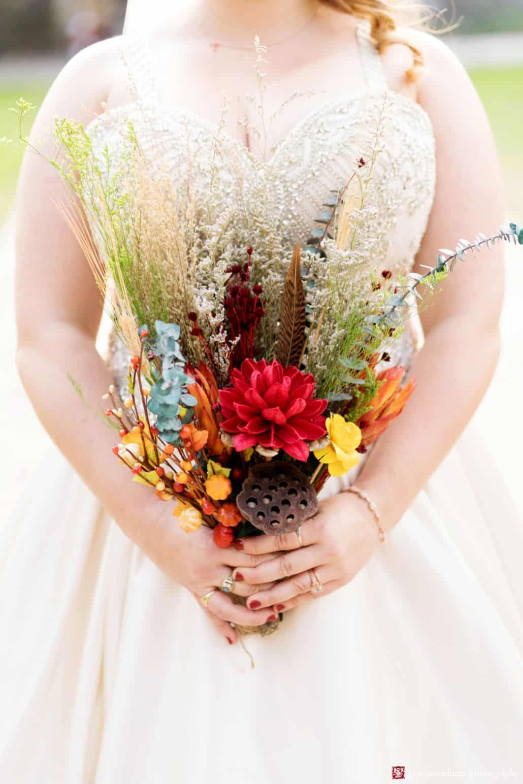 Fall wedding bouquet with grasses