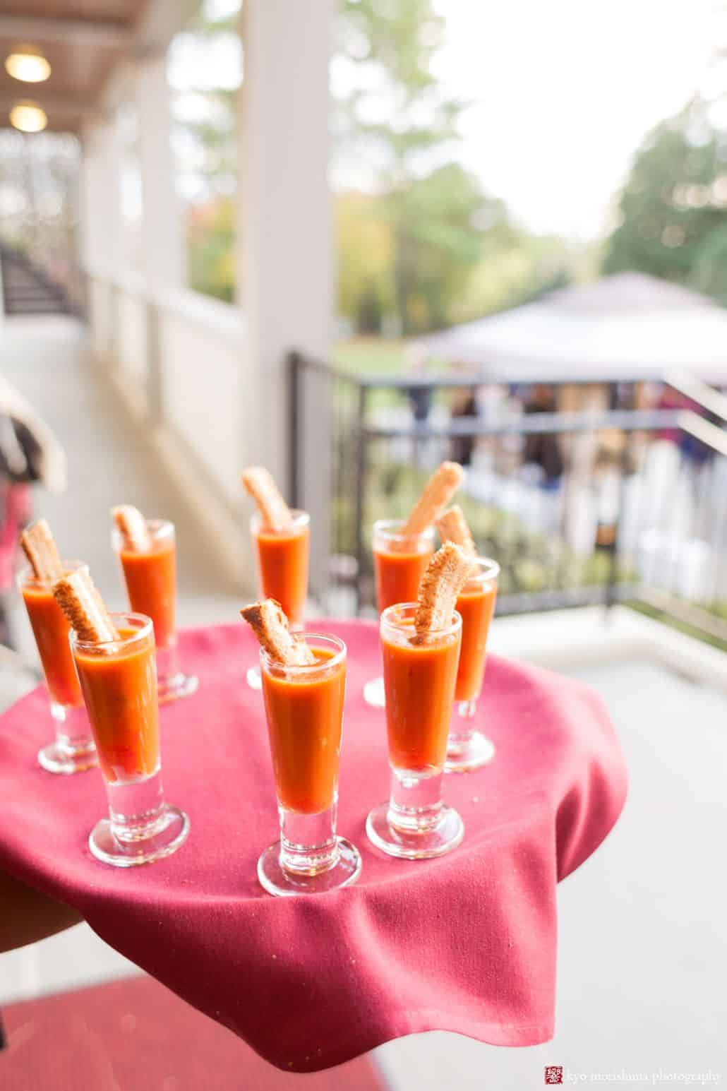 Red pepper gazpacho passed hors d'oeuvres at Princeton University Cap and Gown Club wedding reception
