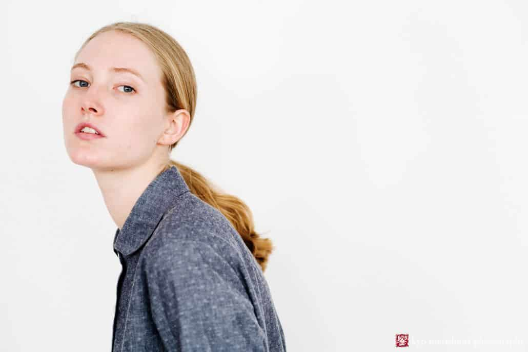 Lookbook photography for Princeton fashion label Semi Gloss NYC winter 2018 collection: soft blue-grey blouse sewn from Japanese fabrics