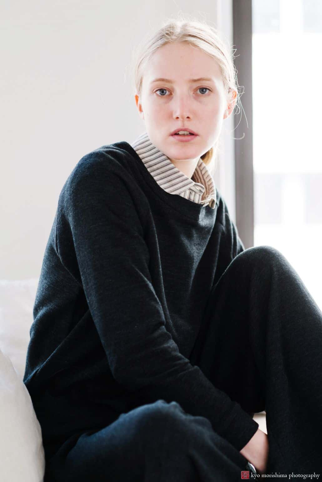 Lookbook photography for Princeton fashion label Semi Gloss NYC winter 2018 collection: striped shirt with collar and oversized black sweater, loose-fitting dark pants
