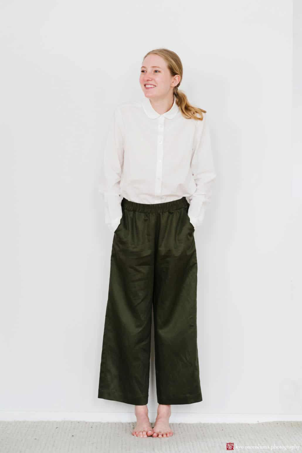 Lookbook photography for Princeton fashion label Semi Gloss NYC winter 2018 collection: white tailored shirt with loose-fitting olive green pants sewn from Japanese fabrics