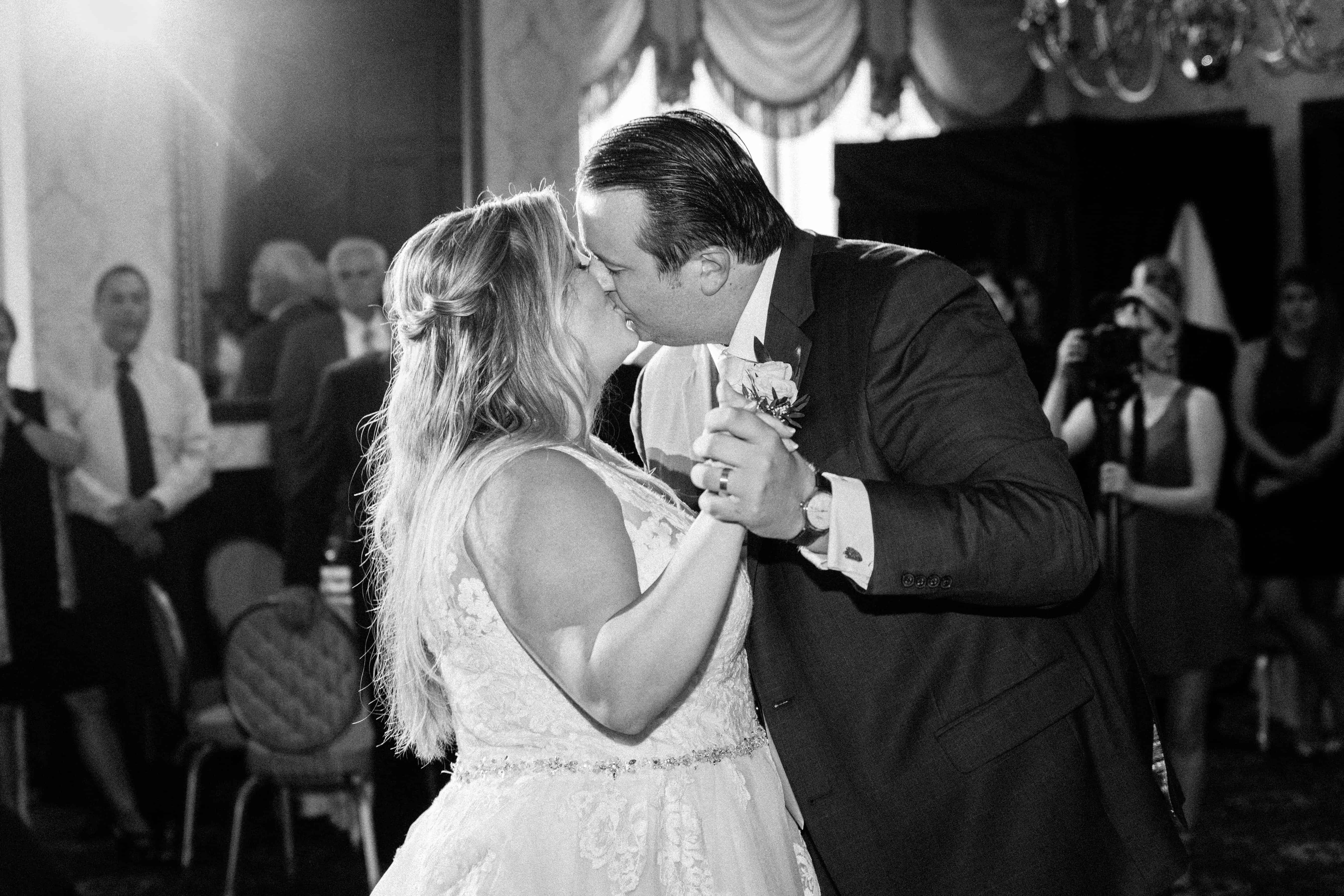 First dance kiss in Prince William ballroom at Nassau Inn wedding