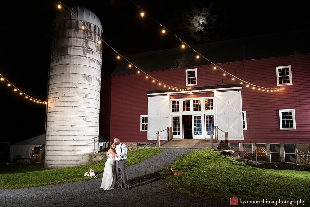 Nighttime wedding portrait at one of the best unique and rustic farm wedding venues in New Jersey: Glenmoore Farm in Hopewell.