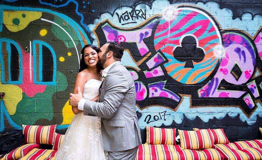 Graffiti wedding portrait: Brooklyn wedding photographer